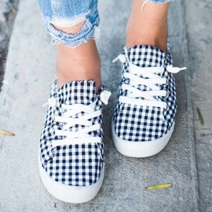 🆕Sydney Black & White Checkered Canvas Sneakers